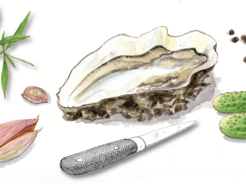 L'huître creuse de Denneville en nage glacée de cornichon