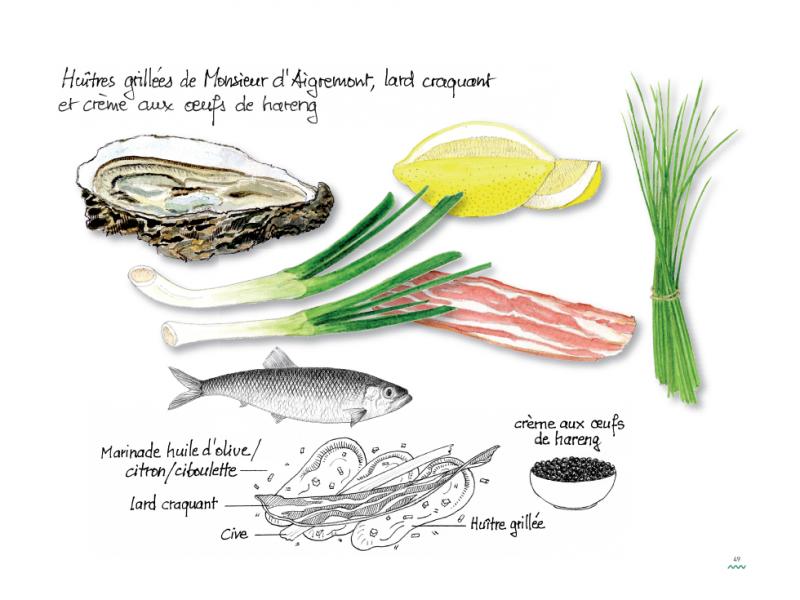 Huîtres grillées de Monsieur d'Aigremont, lard craquant et crème aux œufs de hareng